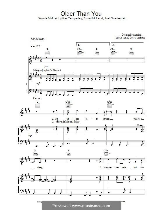 Older Than You (Eskimo Joe): Para vocais e piano (ou Guitarra) by Joel Quartermain, Kavyen Temperley, Stuart MacLeod