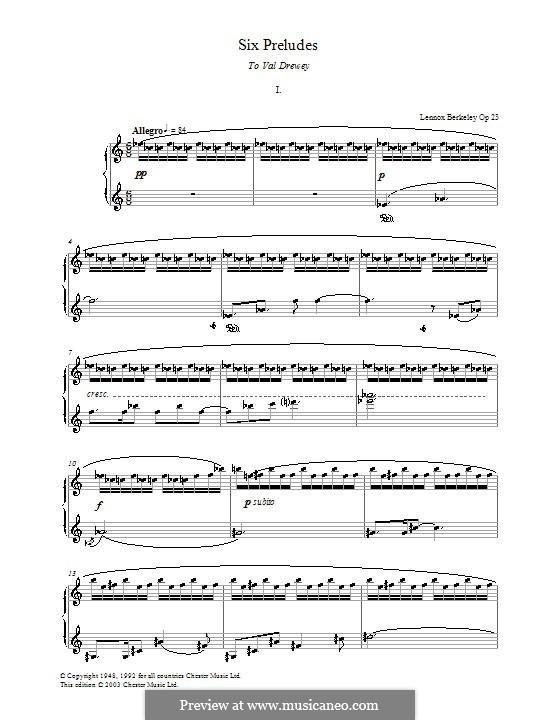 Six Preludes: introdução No.1 by Lennox Berkeley