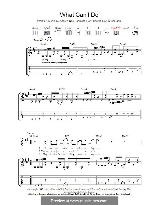 What Can I Do (The Corrs): Para guitarra com guia by Andrea Corr, Caroline Corr, Jim Corr, Sharon Corr
