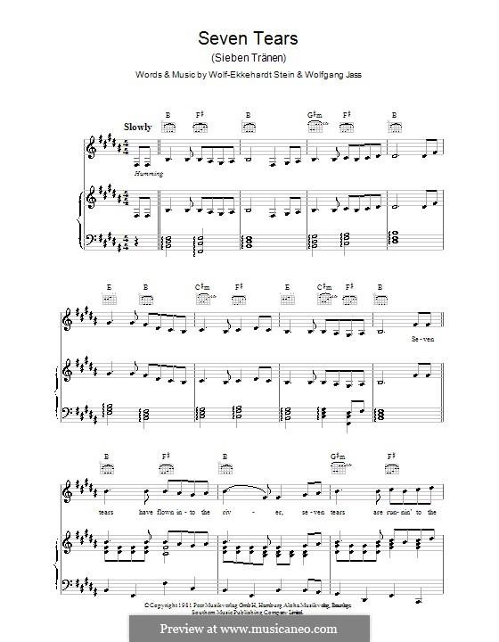 Seven Tears (Goombay Dance Band): Para vocais e piano (ou Guitarra) by Wolff-Ekkehardt Stein, Wolfgang Jass