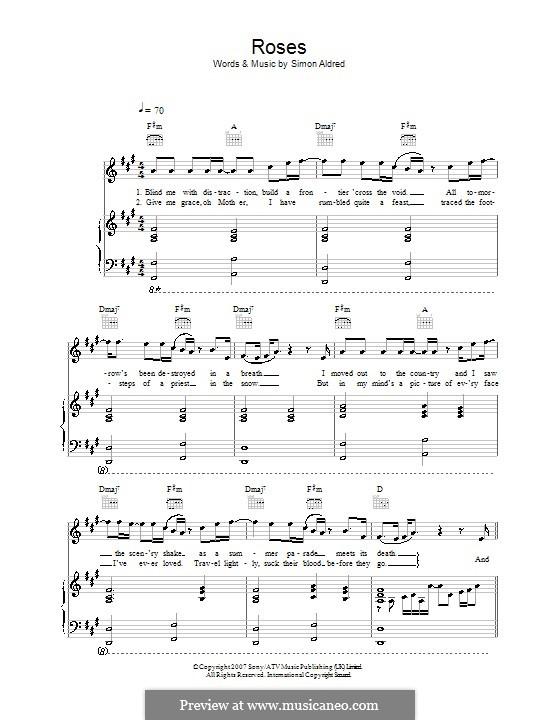 Roses (Cherry Ghost): Para vocais e piano (ou Guitarra) by Simon Aldred