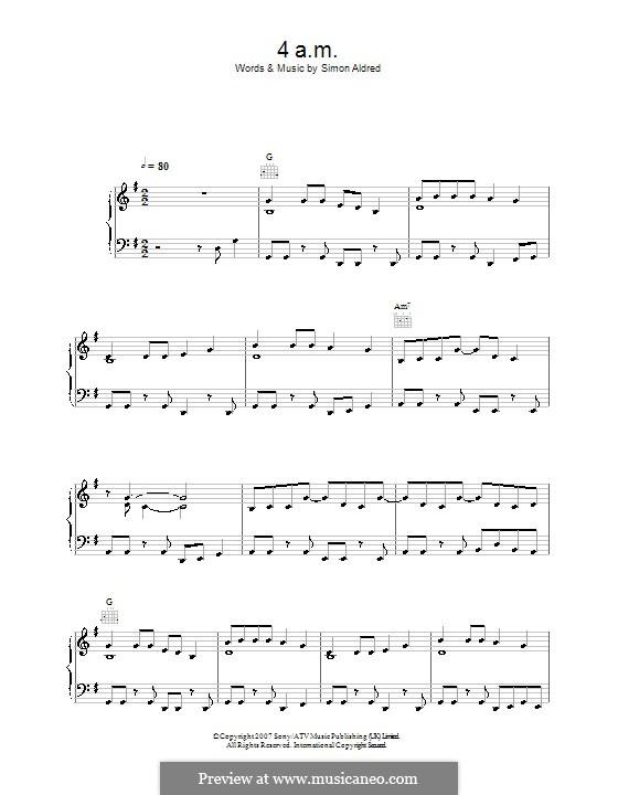 4am (Cherry Ghost): Para vocais e piano (ou Guitarra) by Simon Aldred