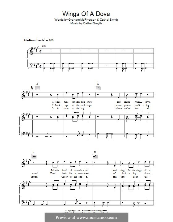 Wings of a Dove (Madness): Para vocais e piano (ou Guitarra) by Cathal Smyth, Graham McPherson