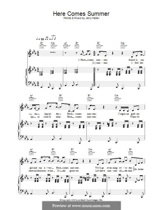 Here Comes Summer: Para vocais e piano (ou Guitarra) by Jerry Keller