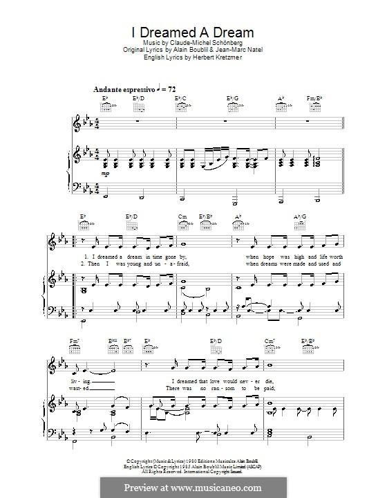 I Dreamed a Dream: Para vocais e piano (ou Guitarra) by Claude-Michel Schönberg