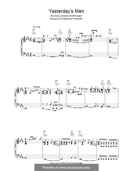 Yesterday's Men (Madness): Para vocais e piano (ou Guitarra) by Christopher Foreman, Graham McPherson