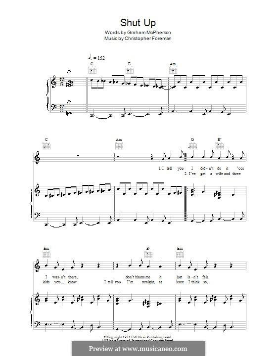 Shut Up (Madness): Para vocais e piano (ou Guitarra) by Christopher Foreman, Graham McPherson