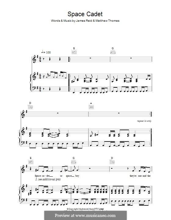 Space Cadet (The Feelers): Para vocais e piano (ou Guitarra) by James Reid, Matthew Thomas