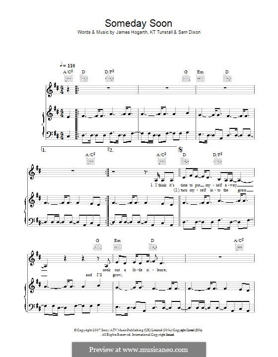 Someday Soon (KT Tunstall): Para vocais e piano (ou Guitarra) by Jimmy Hogarth, Samuel Dixon