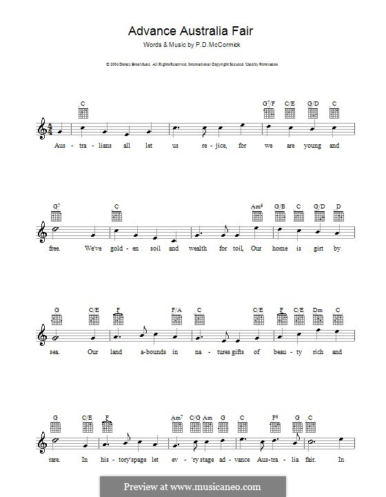 Advance Australia Fair (Australian National Anthem): melodía,letras e acordes by Peter McCormick
