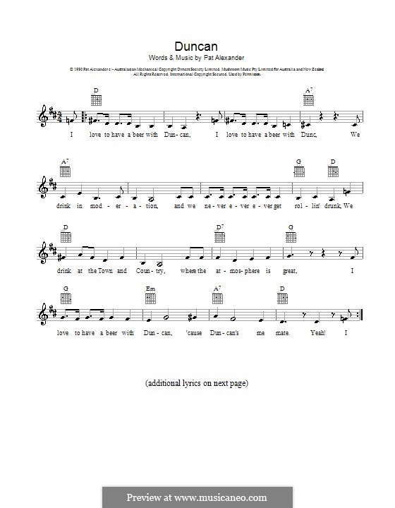 Duncan (Slim Dusty): melodía,letras e acordes by Pat Alexander