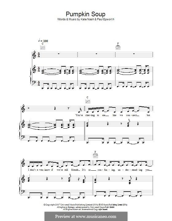 Pumpkin Soup: Para vocais e piano (ou Guitarra) by Paul Epworth