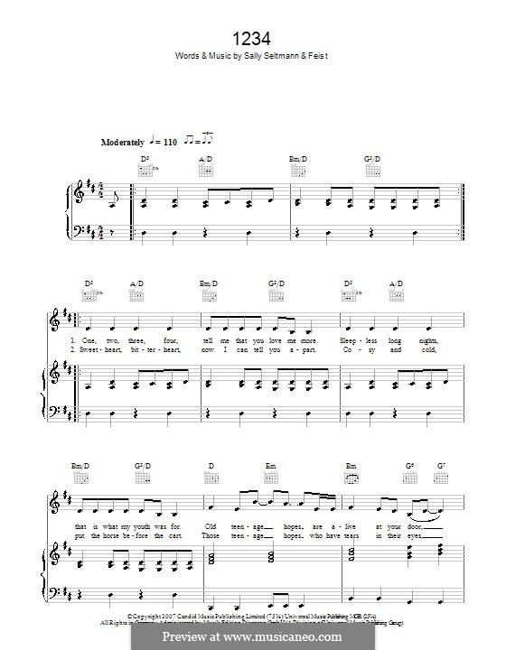 1234: Para vocais e piano (ou Guitarra) by Leslie Feist, Sally Seltmann