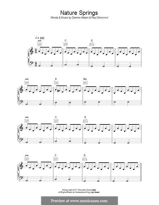 Nature Springs (The Good The Bad & The Queen): Para vocais e piano (ou Guitarra) by Damon Albarn, Paul Simonon