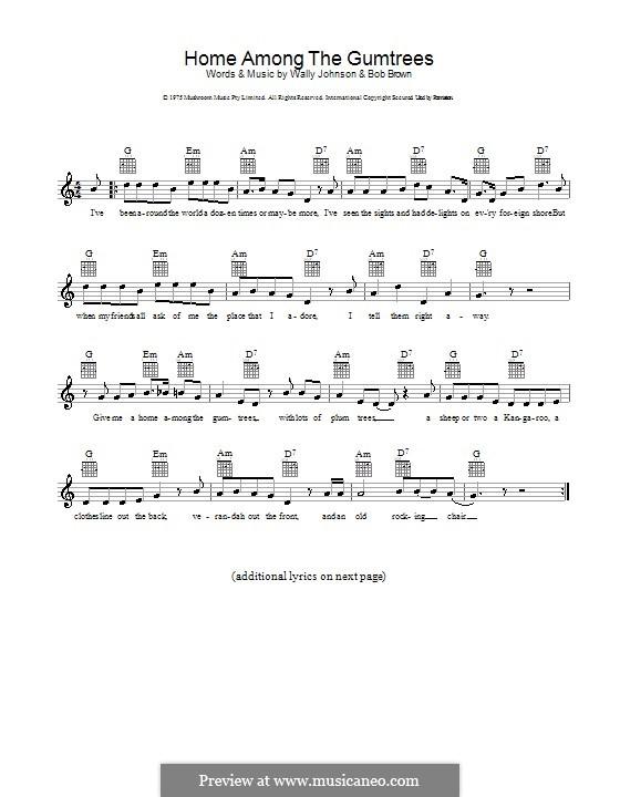 Home Among the Gumtrees: melodía,letras e acordes by Jason Robert Brown, Wally Johnson