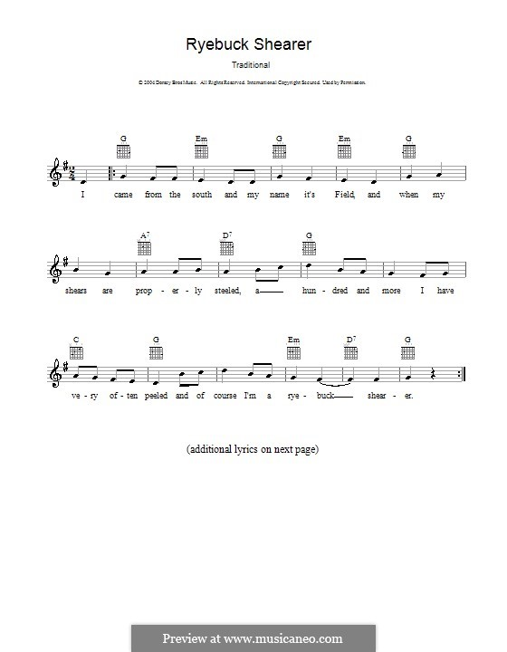 Ryebuck Shearer: melodía,letras e acordes by folklore