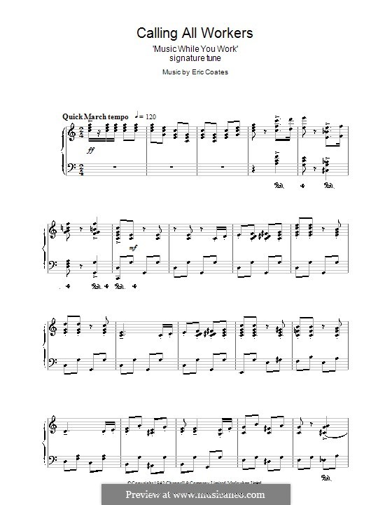 Calling All Workers: Para vocais e piano (ou Guitarra) by Eric Coates