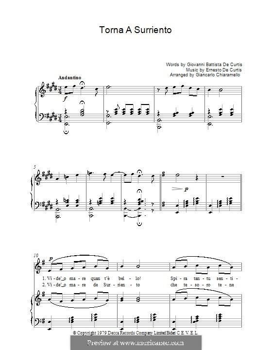 Torna a Surriento: Para vocais e piano by Ernesto de Curtis