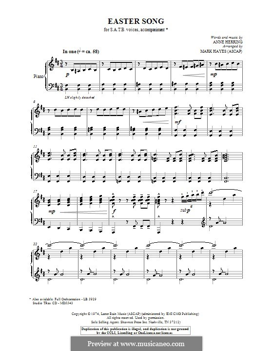 Easter Song: Para Piano by Anne Herring