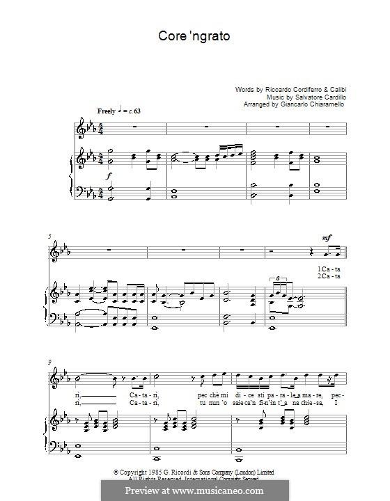 Core 'ngrato: For voice and piano (Luciano Pavarotti) by Salvatore Cardillo