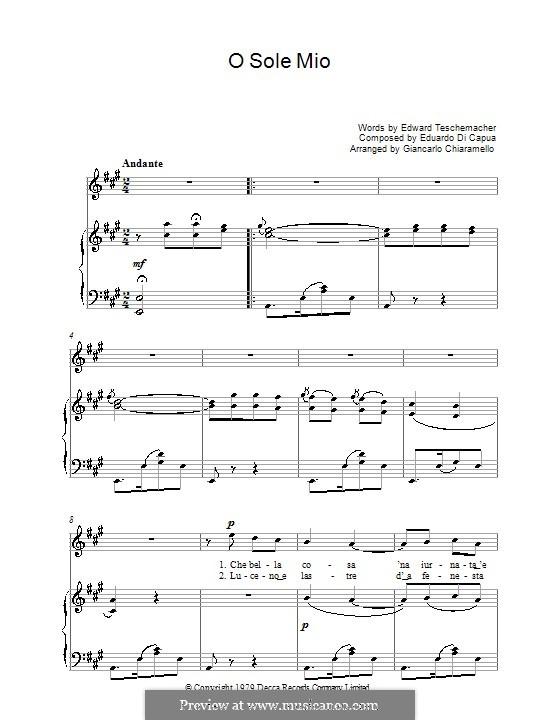 O Sole Mio: For voice and piano or guitar (Luciano Pavarotti) by Eduardo di Capua