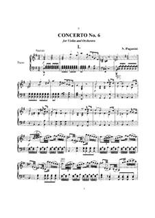 Concerto for Violin and Orchestra No.6 in E Minor, MS 75: versão para violino e piano by Niccolò Paganini