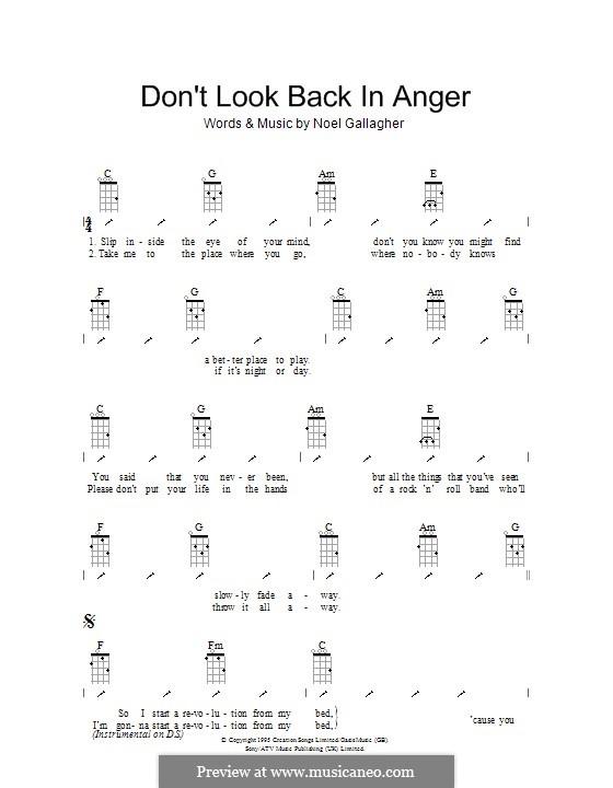 Don't Look Back in Anger (Oasis): para ukulele com dedilhado by Noel Gallagher