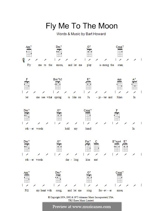 Fly Me to the Moon (In Other Words): para ukulele com dedilhado by Bart Howard
