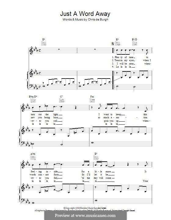 Just a Word Away: Para vocais e piano (ou Guitarra) by Chris de Burgh