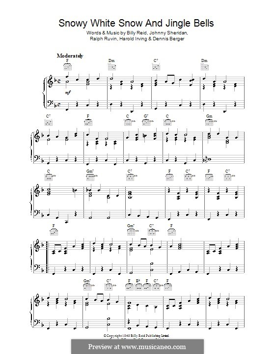 Snowy White Snow and Jingle Bells: Para Piano by Dennis Berger, Harold Irving, Johnny Sheridan, Ralph Ruvin