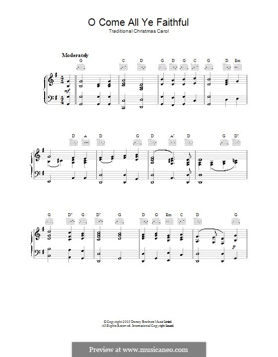 O Come All Ye Faithful, for Piano: Com coros by John Francis Wade