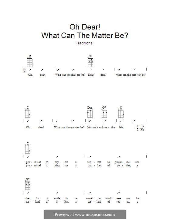 Oh Dear What Can the Matter Be?: ukulele com parte dedilhada by folklore