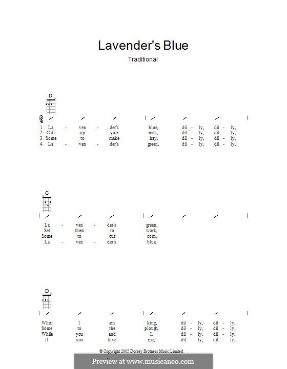 Lavender Blue: ukulele com parte dedilhada by folklore