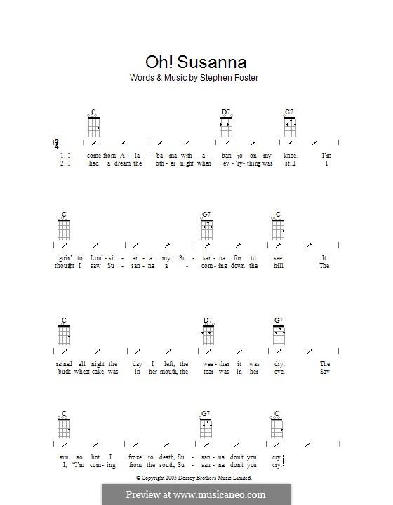 Oh! Susanna: ukulele com parte dedilhada by Stephen Collins Foster