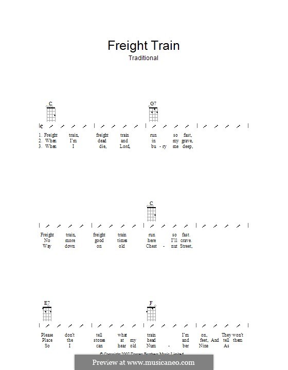 Freight Train: ukulele com parte dedilhada by folklore