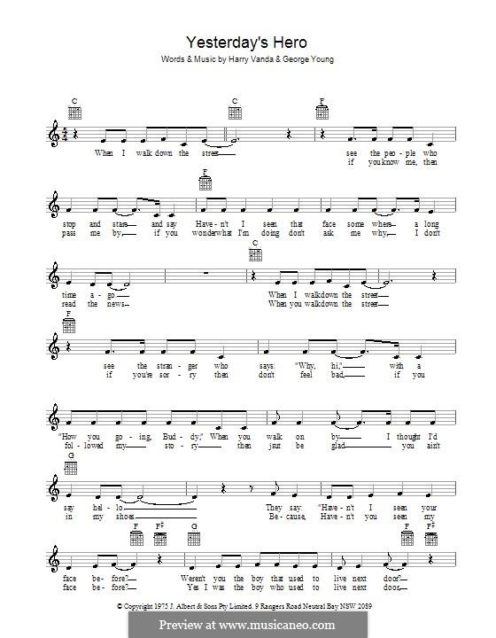 Yesterday's Hero: melodía,letras e acordes by George Young, Harry Vanda