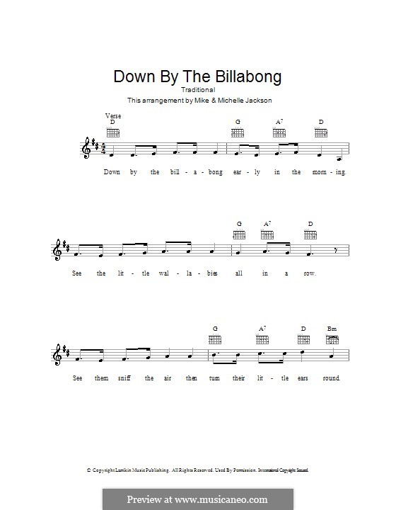 Down By the Billabong: melodía,letras e acordes by folklore