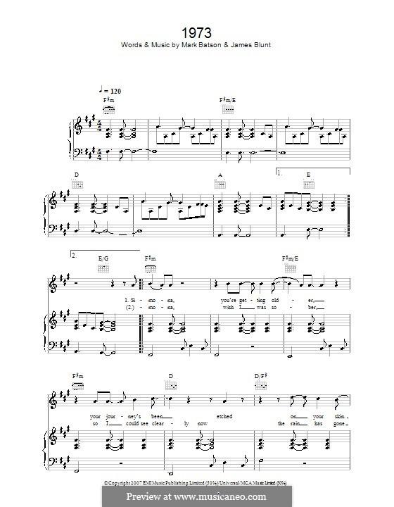 1973: Para vocais e piano (ou Guitarra) by James Blunt, Mark Batson