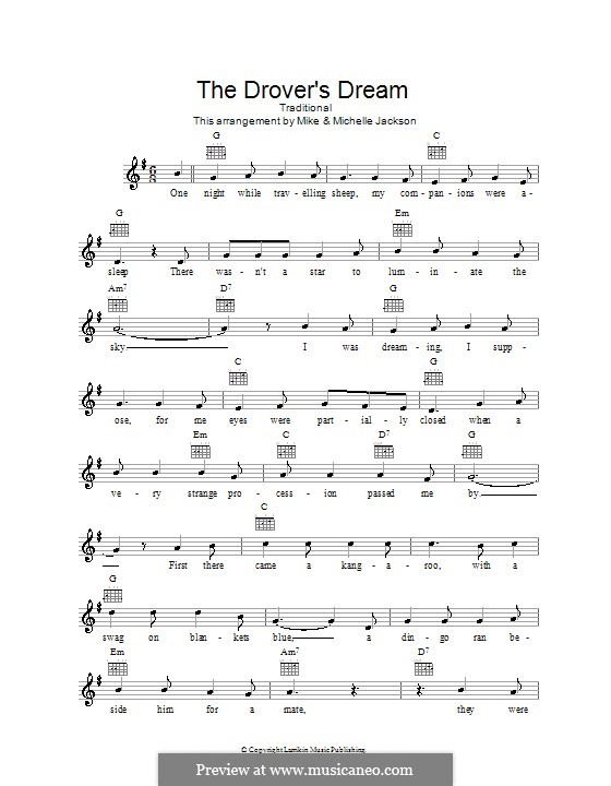 The Drover's Dream: melodía,letras e acordes by folklore