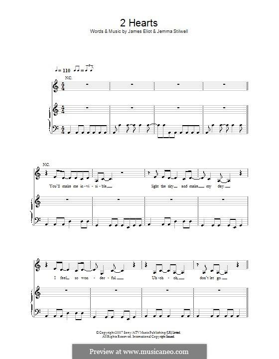 2 Hearts (Kylie Minogue): Para vocais e piano (ou Guitarra) by James Eliot, Jemma Stilwell
