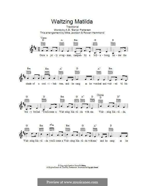 Waltzing Matilda: melodía,letras e acordes by folklore