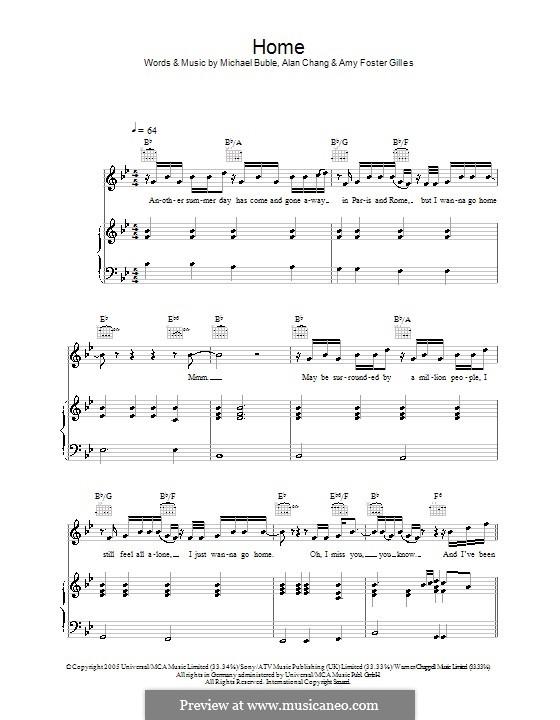 Home: para vozes e piano ou guitarra (Westlife) by Alan Chang, Amy Foster-Gillies, Michael Bublé
