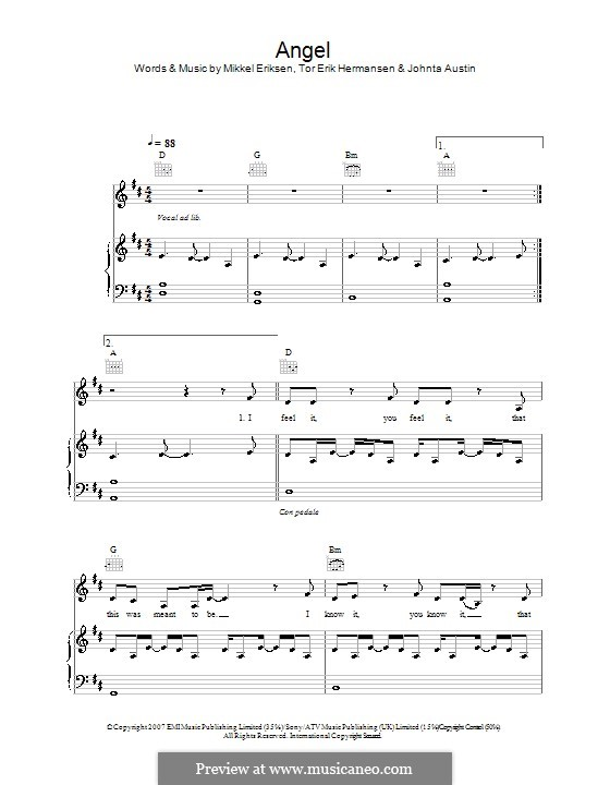 Angel (Leona Lewis): Para vocais e piano (ou Guitarra) by Amund Bjorklund, Espen Lind, Johntá Austin, Mikkel Storleer Eriksen, Tor Erik Hermansen
