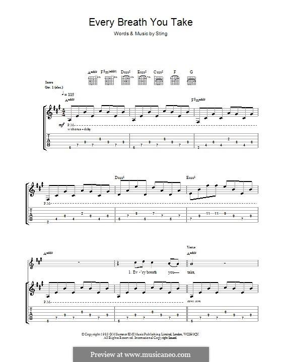 Every Breath You Take (The Police): Para guitarra com guia by Sting