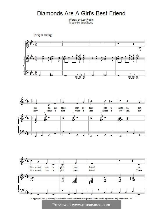 Diamonds are a Girl's Best Friend (Marilyn Monroe): Para vocais e piano by Jule Styne