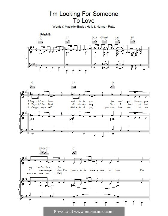 I'm Looking for Someone to Love: Para vocais e piano (ou Guitarra) by Buddy Holly, Norman Petty