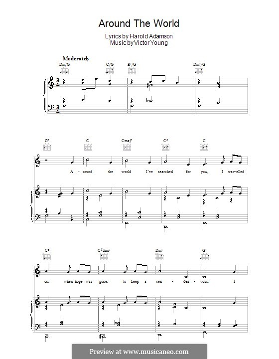 Around the World: Para vocais e piano (ou Guitarra) by Victor Young
