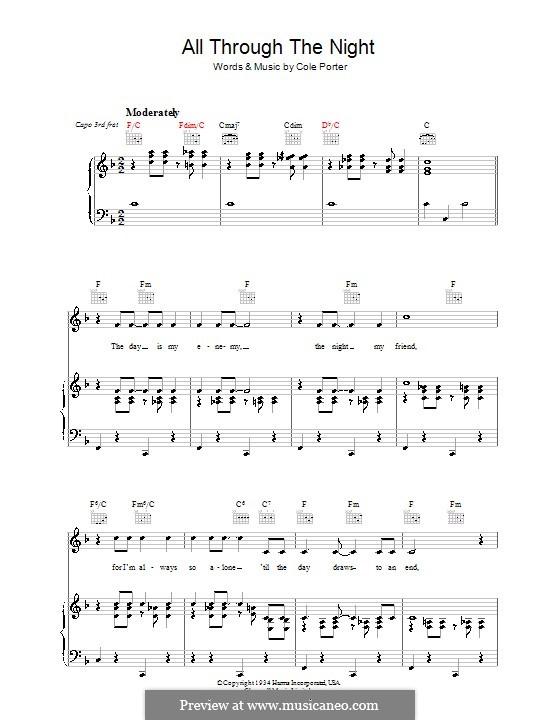 All Through the Night: Para vocais e piano (ou Guitarra) by Cole Porter