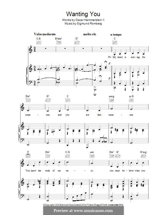 Wanting You: Para vocais e piano (ou Guitarra) by Sigmund Romberg