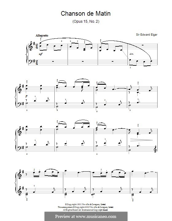 Two Pieces, Op.15: No.2 Chanson de matin. Version for easy piano by Edward Elgar